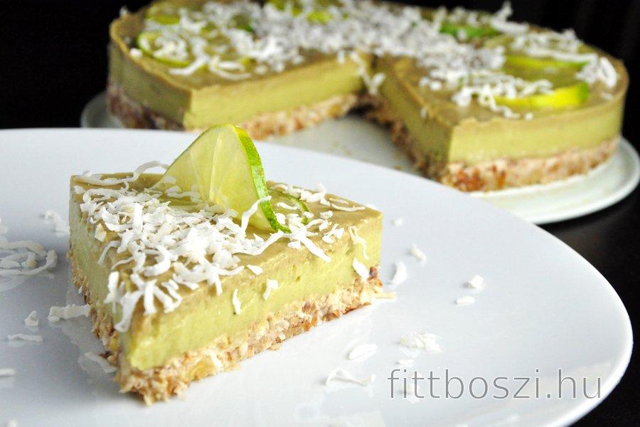 Nyers Lime-Avokádó Torta (Gluténmentes)